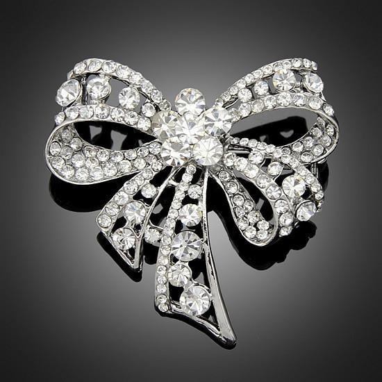Bow Brooches  6pcs Lot Rhinestone Bow Brooches Jewelry Fashion Luxury
