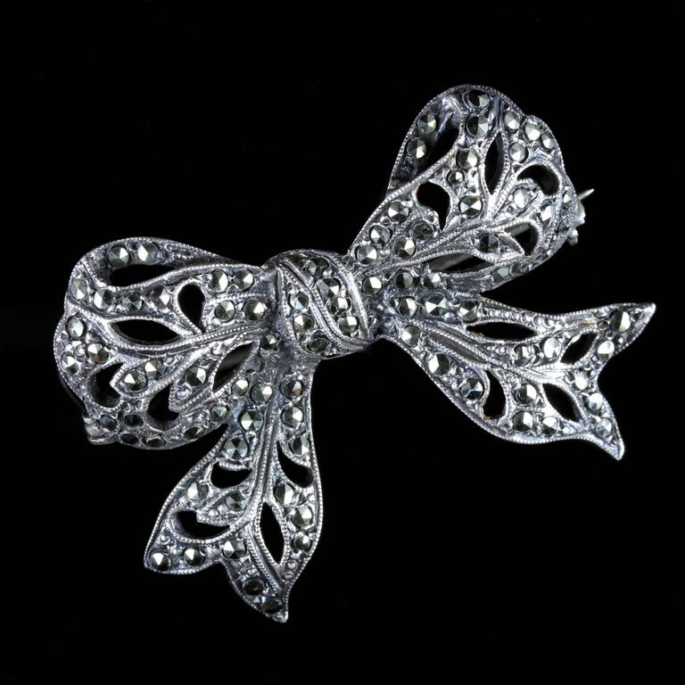 Bow Brooches  Antique Edwardian Marcasite Bow Brooch Silver circa 1910