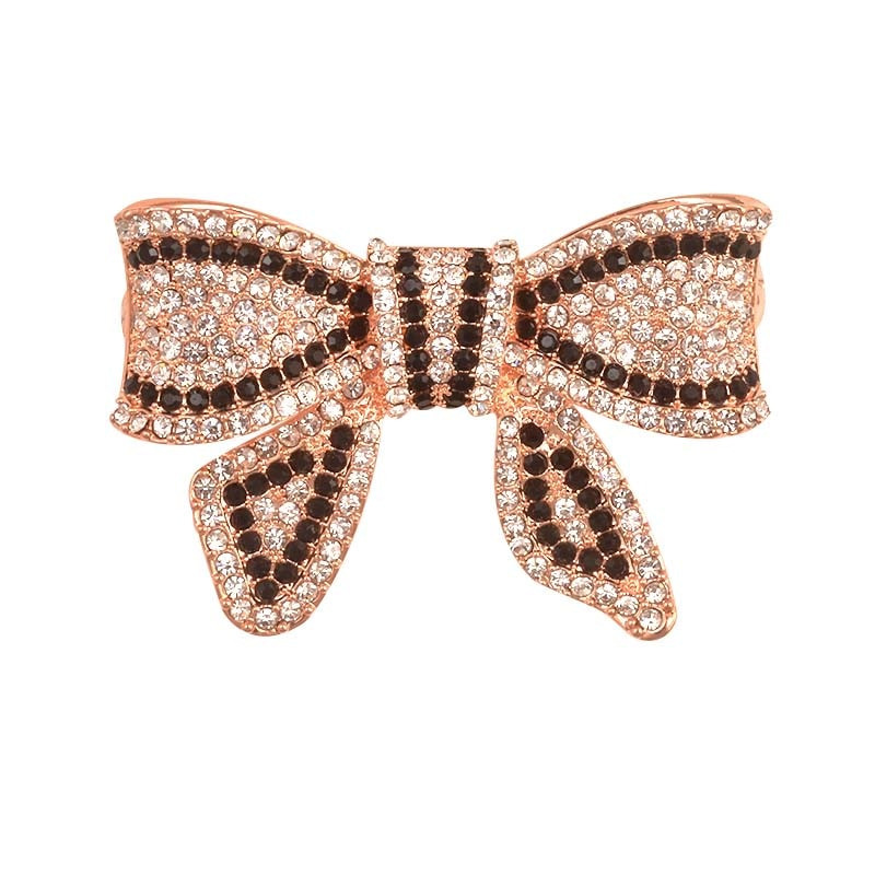 Bow Brooches  Deshow New Black Color Rhinestone Bow Brooches for Women