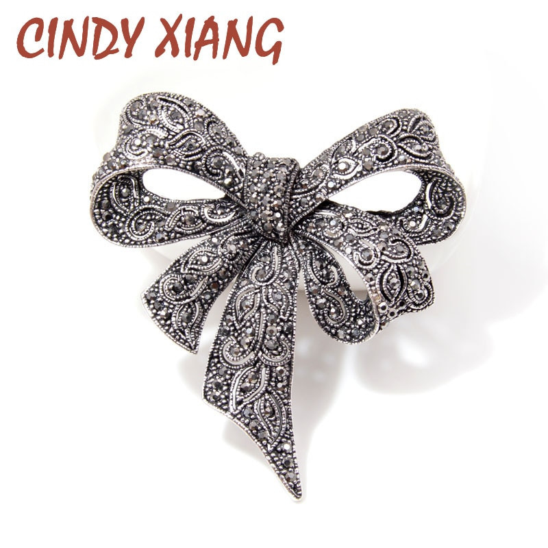 Bow Brooches  CINDY XIANG Black Color Rhinestone Bow Brooches for Women