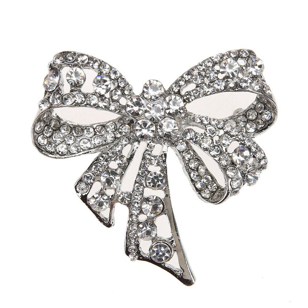 Bow Brooches  New Women Vintage Bowknot Brooch Jewelry Crystal Pin