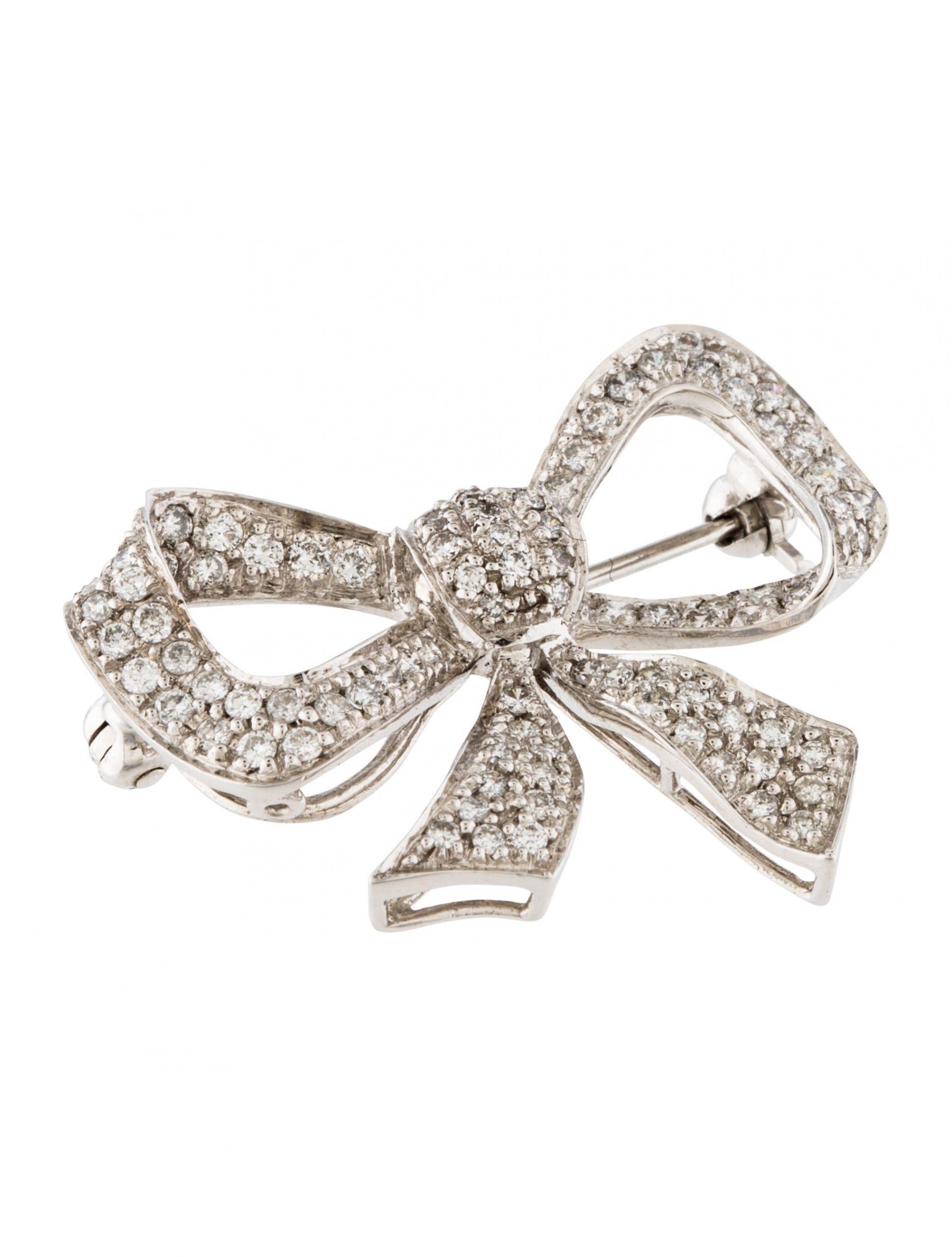 Bow Brooches  14K Diamond Bow Brooch Pin Brooches BROOC