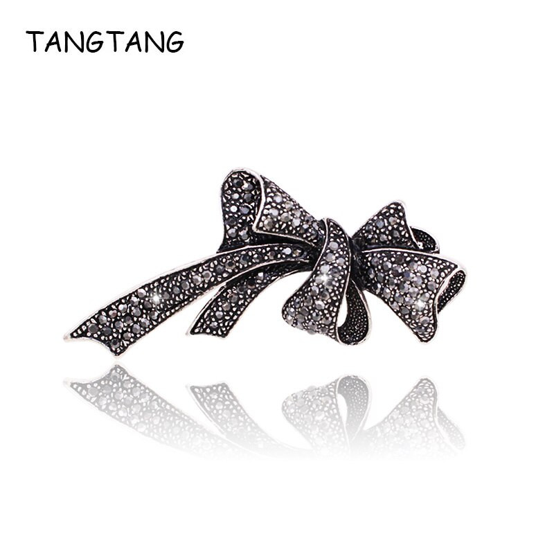 Bow Brooches  Black Color Rhinestone Bow Brooches for Women