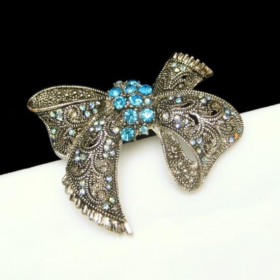 Bow Brooches  Vintage Blue AB Rhinestone Bow Brooch Pin Filigree