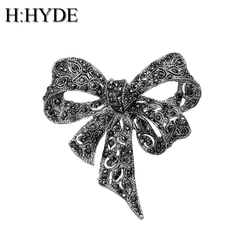 Bow Brooches  Aliexpress Buy H HYDE Vintage Rhinestone Bow