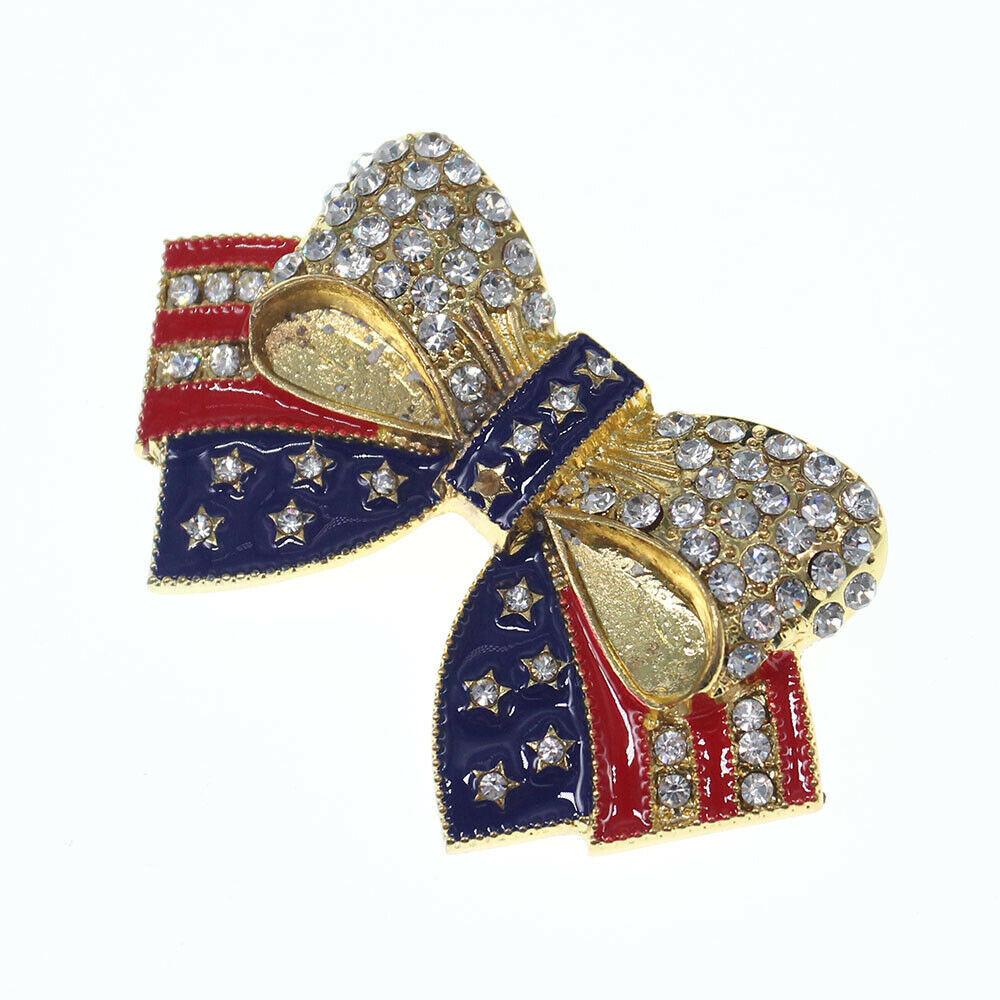 Bow Brooches  Rhinestone Brooches Gold Tone Crystal Enamel USA Flag Bow