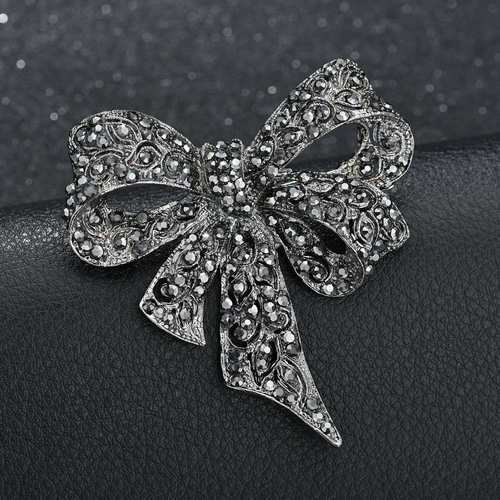 Bow Brooches  Terreau Kathy Black Color Rhinestone Bow Brooches for