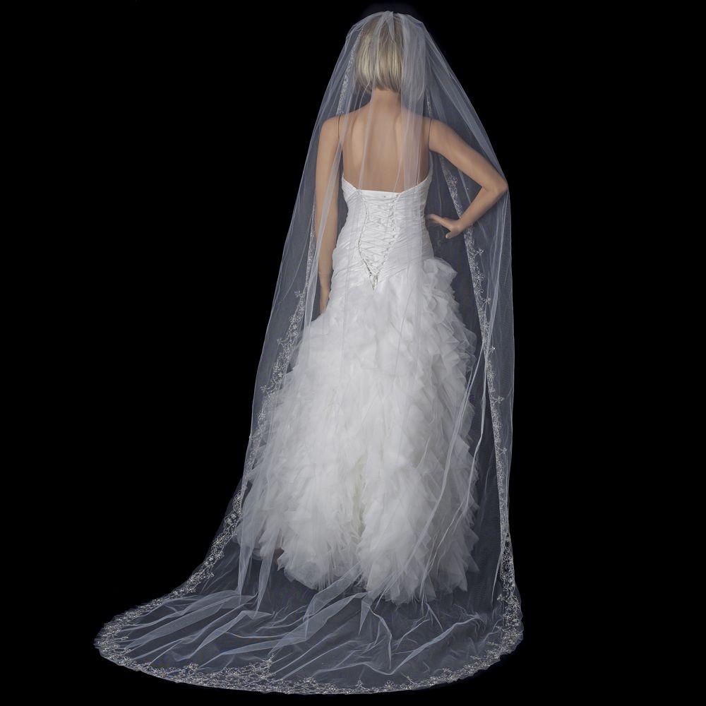 Cathedral Length Wedding Veil  Bridal Wedding Single Layer Cathedral Length Veil