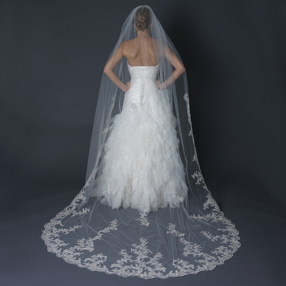 Cathedral Length Wedding Veil  Floral Lace Scalloped Edge Cathedral Length Wedding Veil