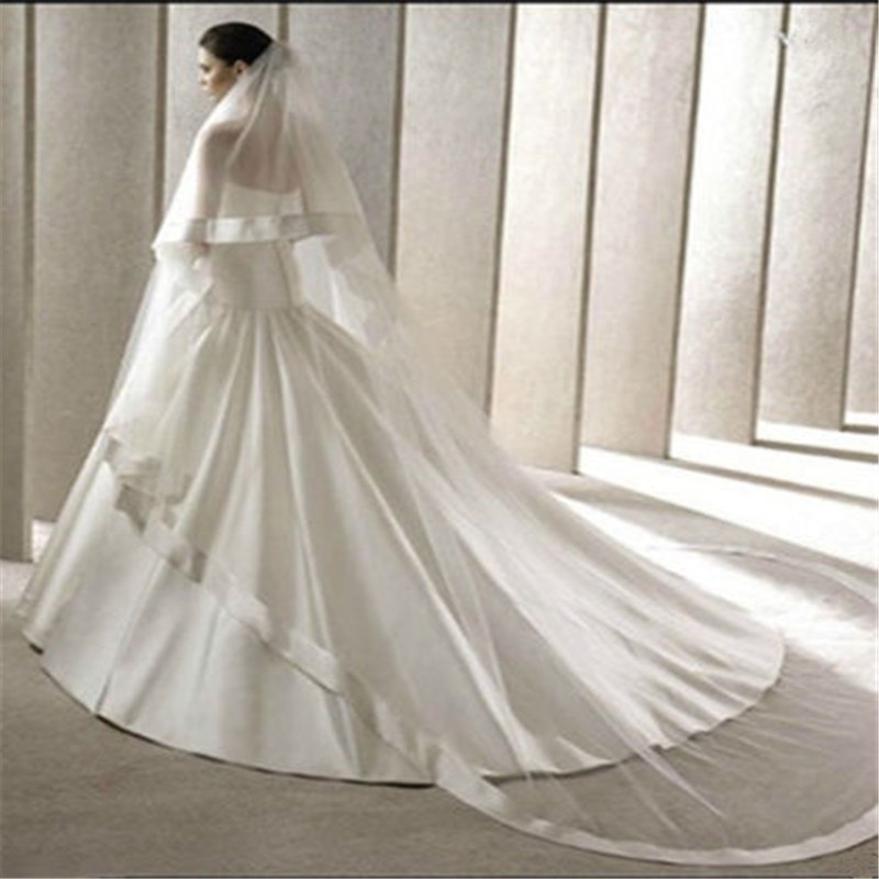 Cathedral Length Wedding Veil  2 LAYER WIDE RIBBON EDGE CATHEDRAL LENGTH WEDDING VEIL