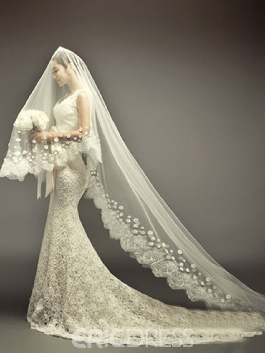 Cathedral Length Wedding Veil  Cathedral Length Ivory Lace Wedding Veil