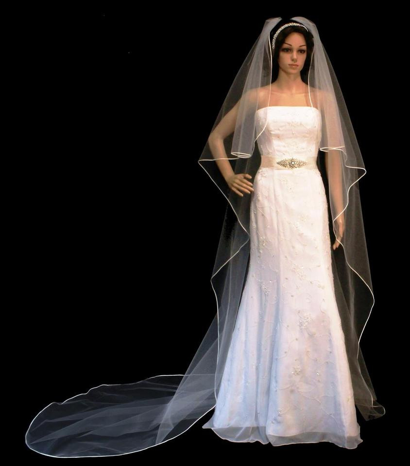 Cathedral Length Wedding Veil  Cascade Style Soutache Edge Cathedral Length Ivory Wedding