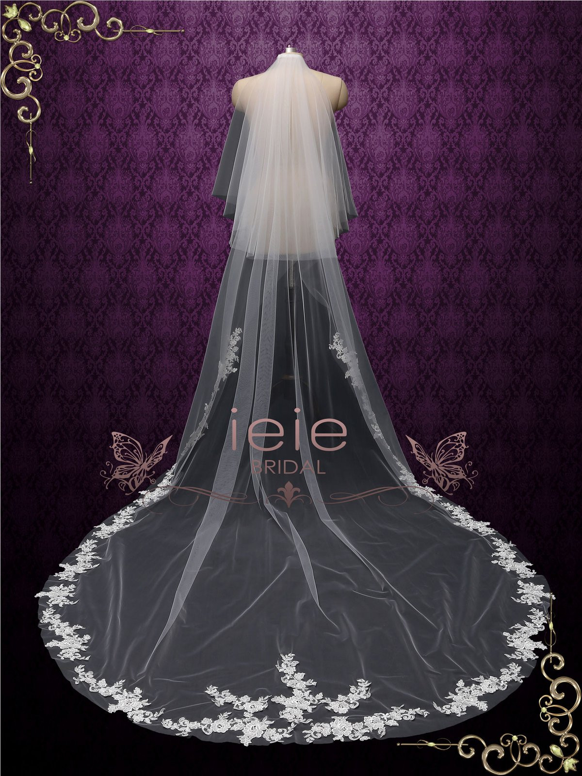 Cathedral Length Wedding Veil  Chapel Length Lace Edge Bridal Wedding Veil with Blusher