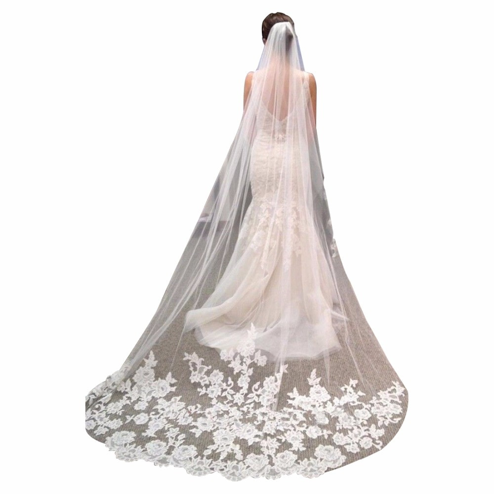 Cathedral Length Wedding Veil  Romantic Wedding Veil Cathedral Length Lace Edge Soft