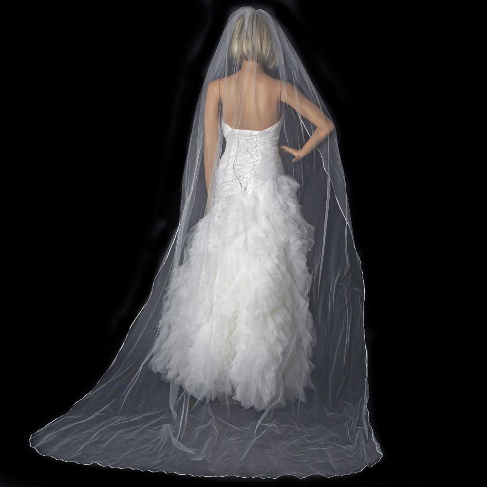 Cathedral Length Wedding Veil  Bridal Wedding Single Layer Pencil Edge Cathedral Length Veil