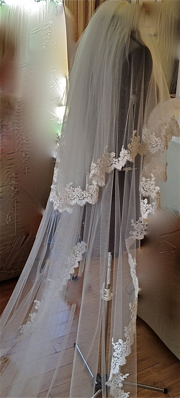 Cathedral Length Wedding Veil  White Ivory 2015 2 Layers Wedding Veil Cathedral Length