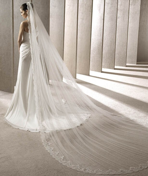 Cathedral Length Wedding Veil  White Ivory Cathedral Length Luxury Lace Edge Wedding Veil