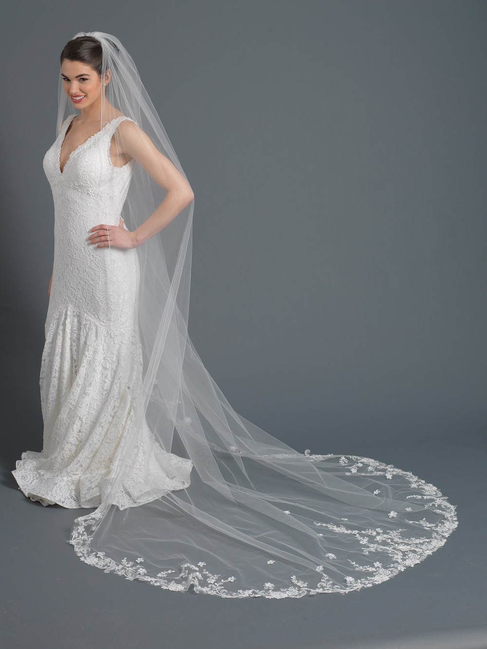 Cathedral Length Wedding Veil  Wholesale Bridal Cathedral length floral embroidered lace