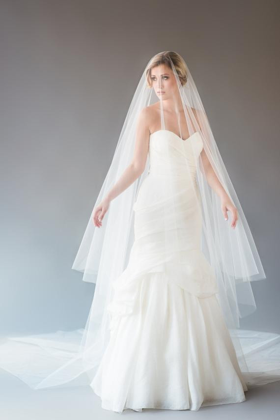 Cathedral Length Wedding Veil  AUBREY VEIL cathedral length wedding veil drop veil circle