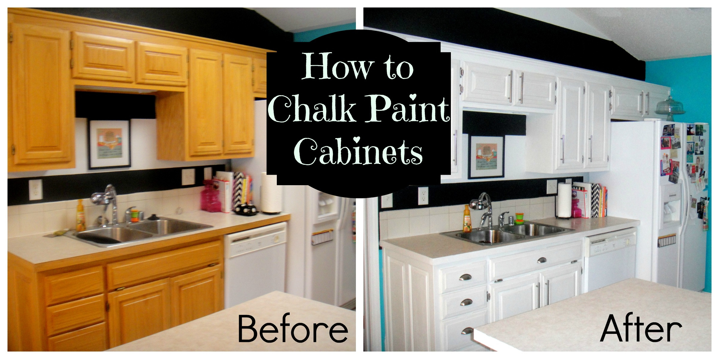 Chalk Paint Kitchen Cabinets Before And After  How to chalk paint