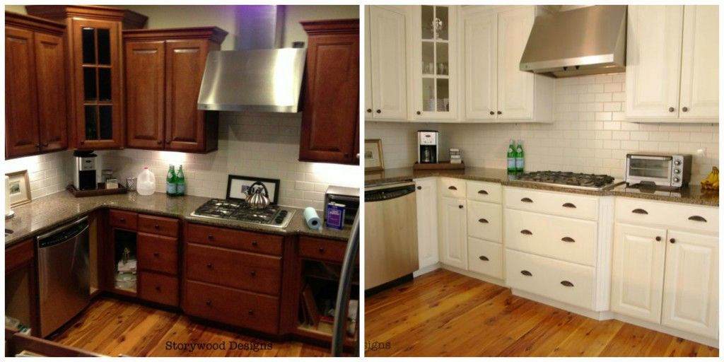 Chalk Paint Kitchen Cabinets Before And After  Storywood Designs ASCP Chalk Paint Kitchen Cabinets Before