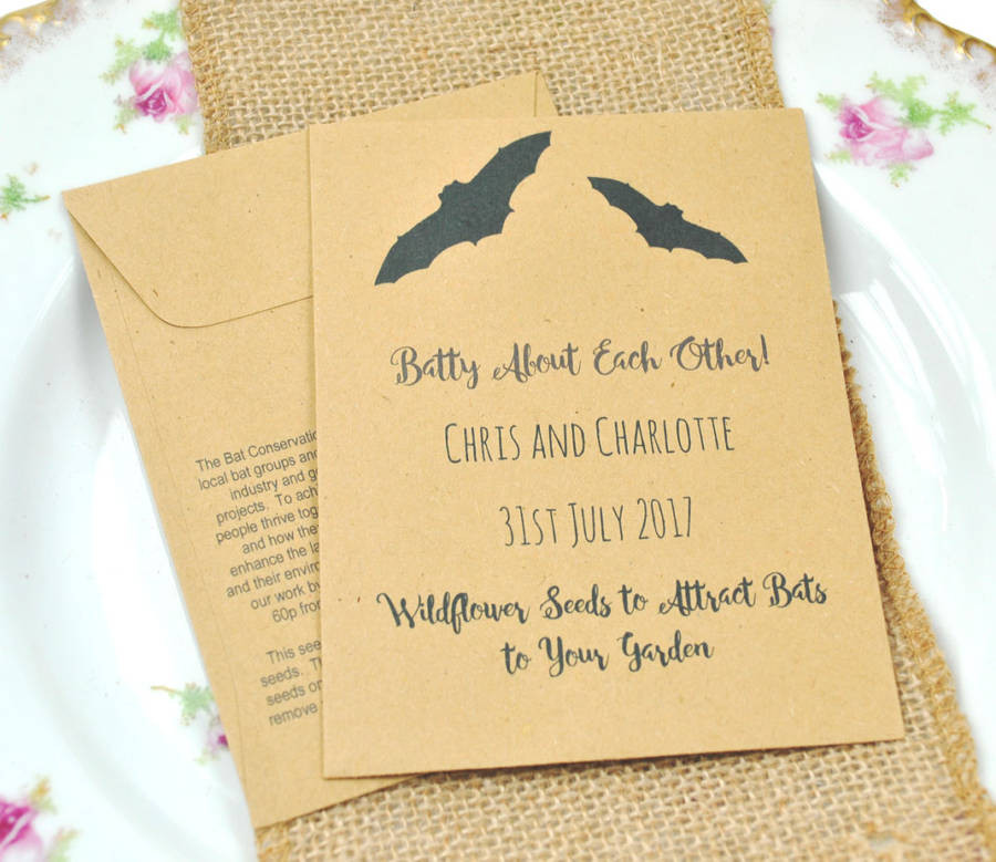 Charity Wedding Favors  Bat Conservation Charity Wedding Favour Seed Packet