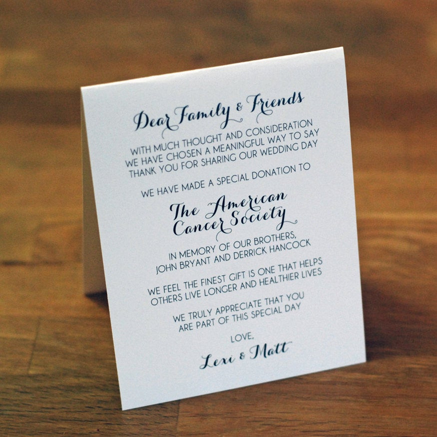 Charity Wedding Favors  Tented Wedding Favor Donation Sign 5 5 tall x 4 25
