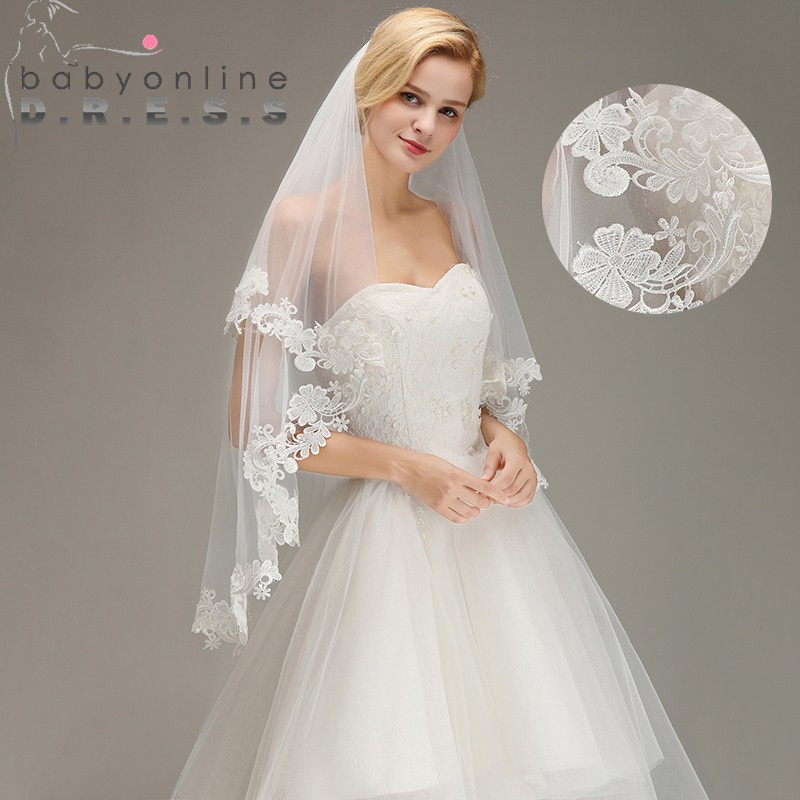 Cheap Wedding Veils With Comb  Voile Mariage Cheap Lace Edge Short Ivory Wedding Veil
