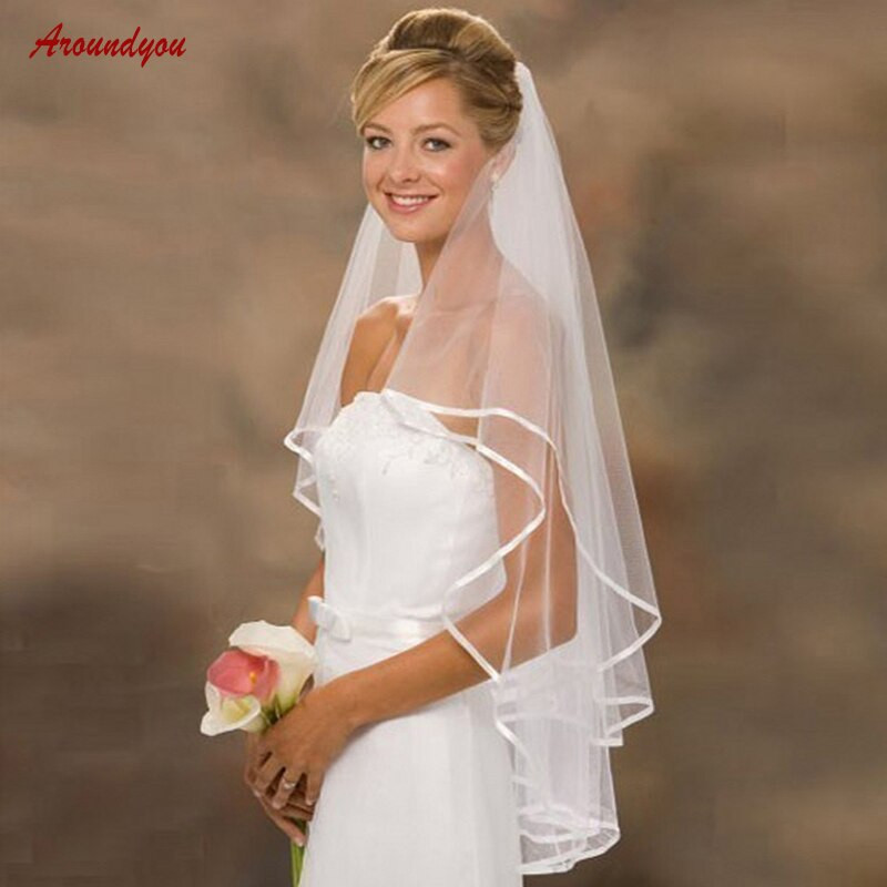Cheap Wedding Veils With Comb  White or Ivory Short Wedding Veil with b Cheap 2 Two