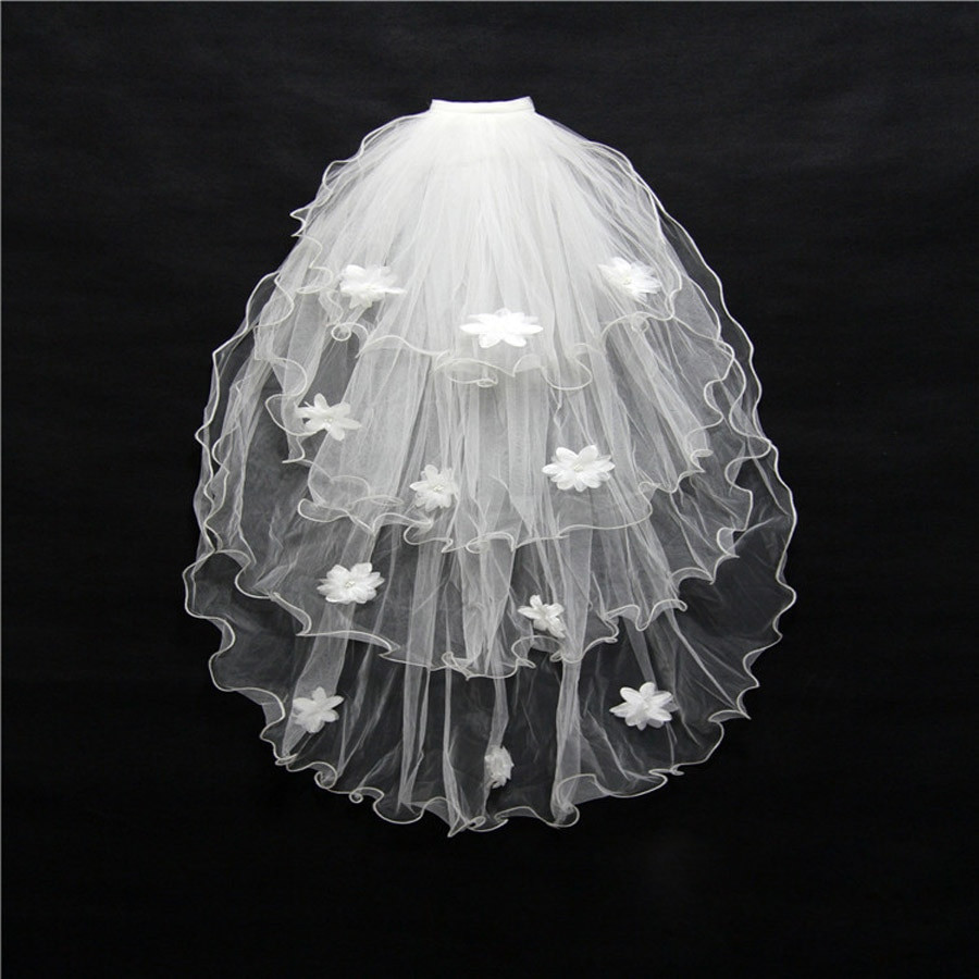 Cheap Wedding Veils With Comb  ZYLLGF Bridal Cheap Wedding Veil 4 Layer Wholesale Short