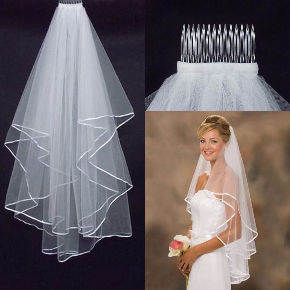 Cheap Wedding Veils With Comb  Aliexpress Buy Simple Tulle White Ivory Two Layers