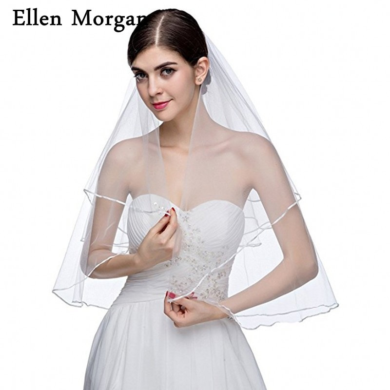 Cheap Wedding Veils With Comb  Short Tulle Cheap Bridal Veil With b 2018 Sale Wedding