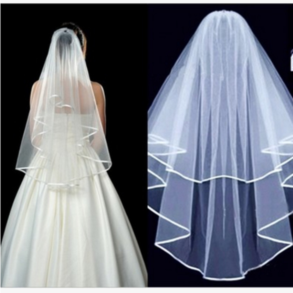 Cheap Wedding Veils With Comb  Cheap Ivory White Wedding Veils Short Elbow With b