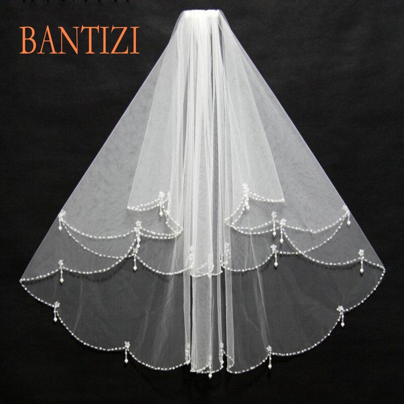 Cheap Wedding Veils With Comb  Wedding Veils Cheap 2018 With b Two Layer Tulle Sequins