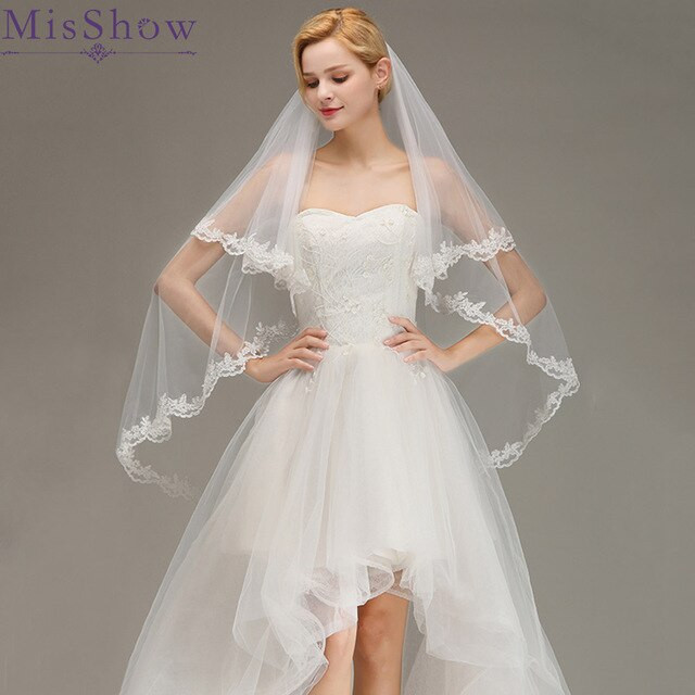 Cheap Wedding Veils With Comb  2019 White Ivory Short Cheap wedding veil short with a