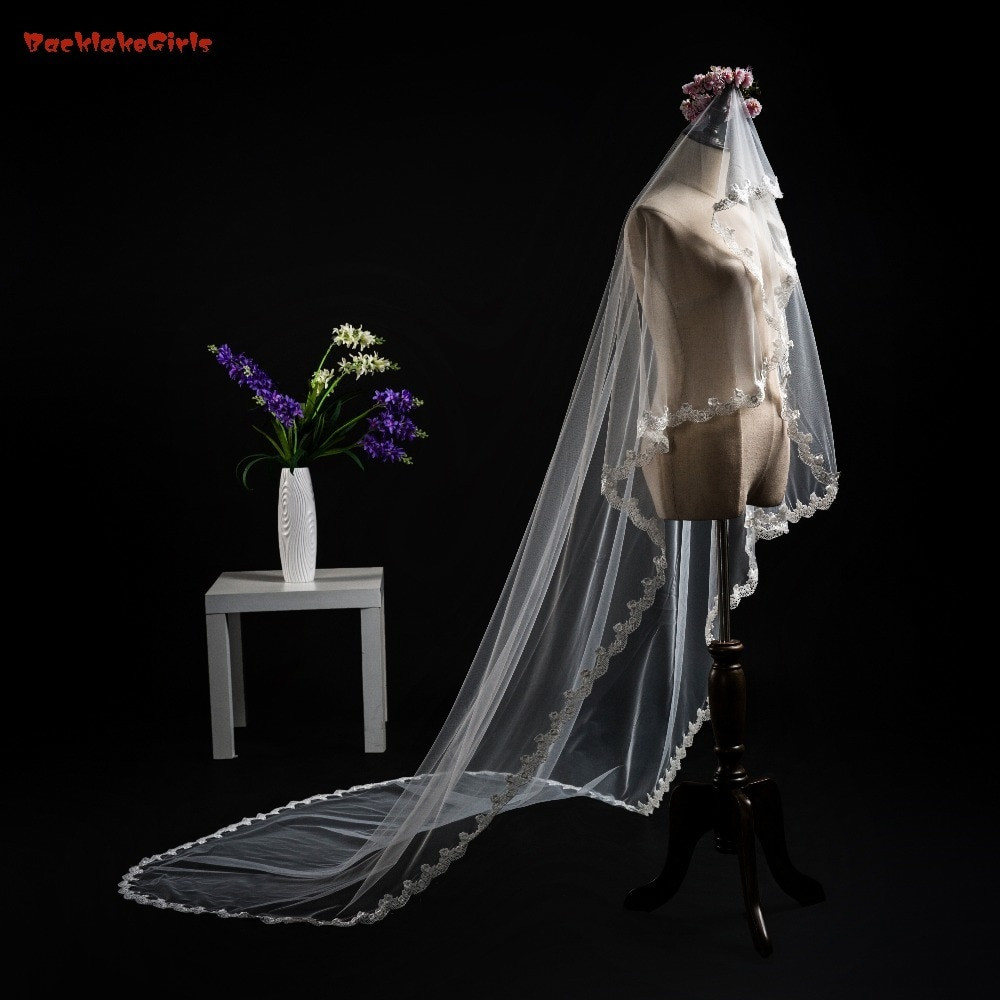 Cheap Wedding Veils With Comb  Cheap Long Cathedral Bridal Veil with b White And Ivory