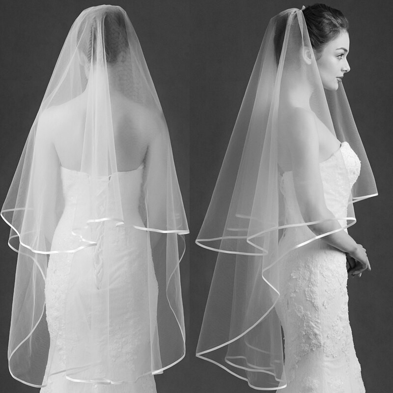 Cheap Wedding Veils With Comb  Backlakegirl Veils With b 2017 y Yarn Dyed e layer