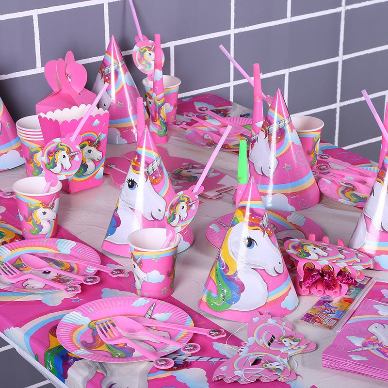Child Birthday Party Supplies  135pcs lot Horse Children Birthday Party Decorations Kids