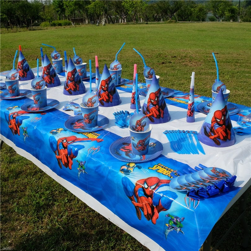 Child Birthday Party Supplies  Spiderman Superhero Avengers Kids Birthday Party