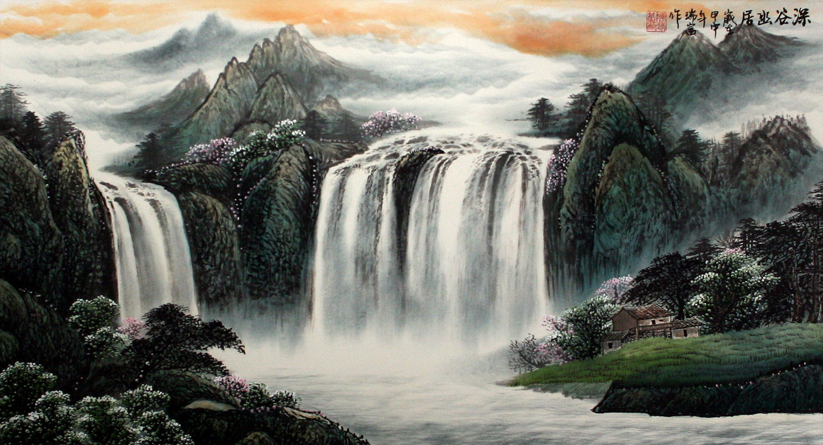 Chinese Landscape Paintings  Chinese Waterfall Landscape Painting Asian Art