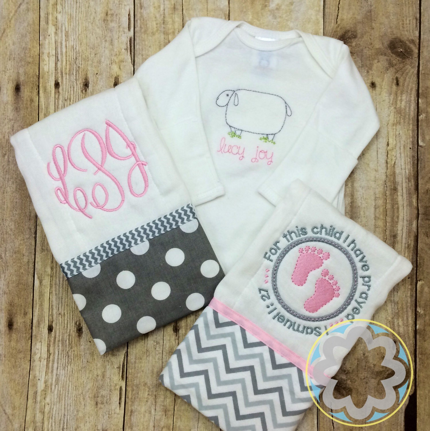Christian Baby Gifts Personalized  Christian Baby Girl Gift Set Monogrammed Personalized Gown