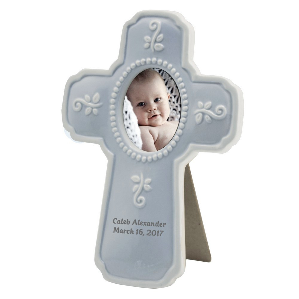 Christian Baby Gifts Personalized  Personalized Baby Blue Ceramic Religious Cross