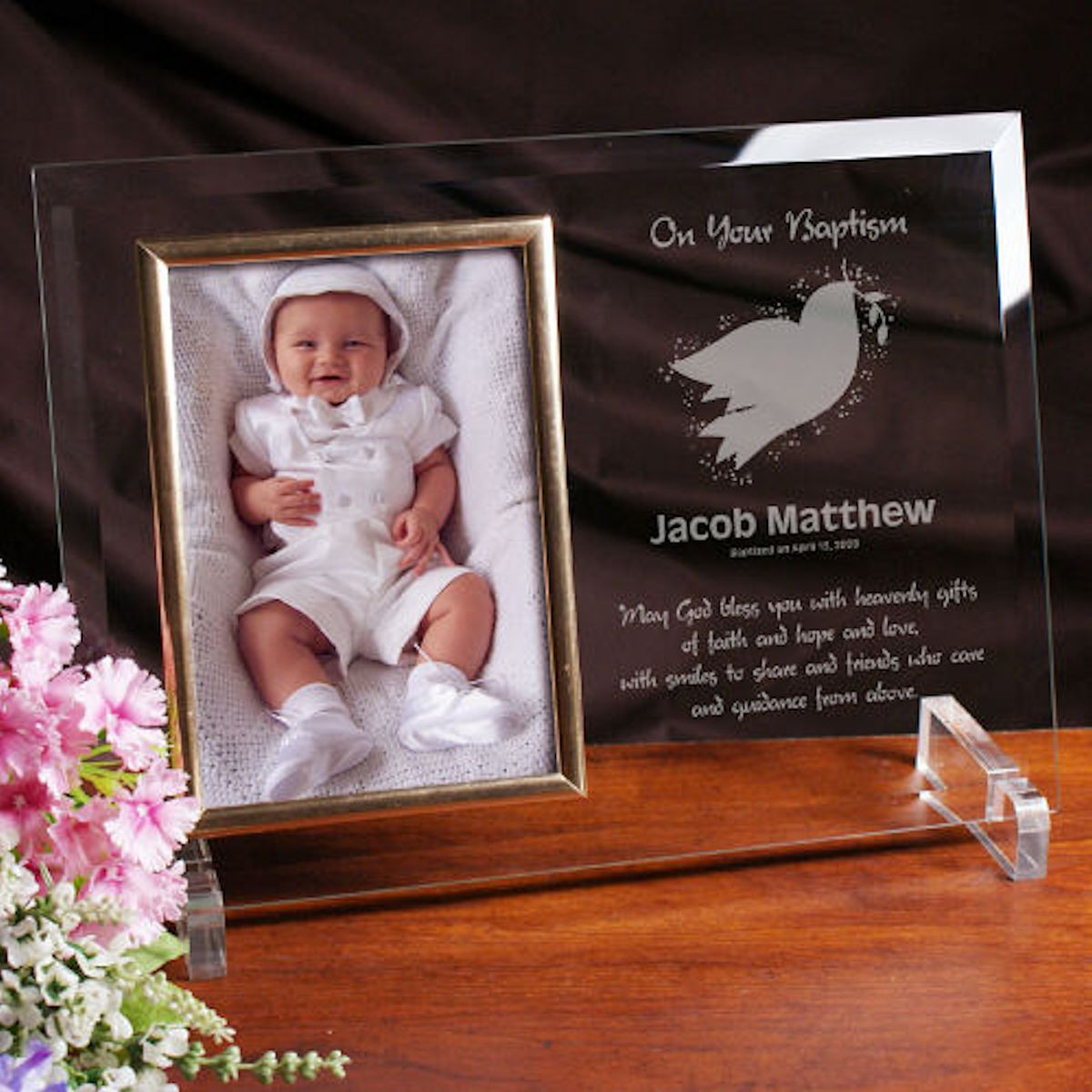 Christian Baby Gifts Personalized  Personalized Baptism or Christening Glass Picture Frame