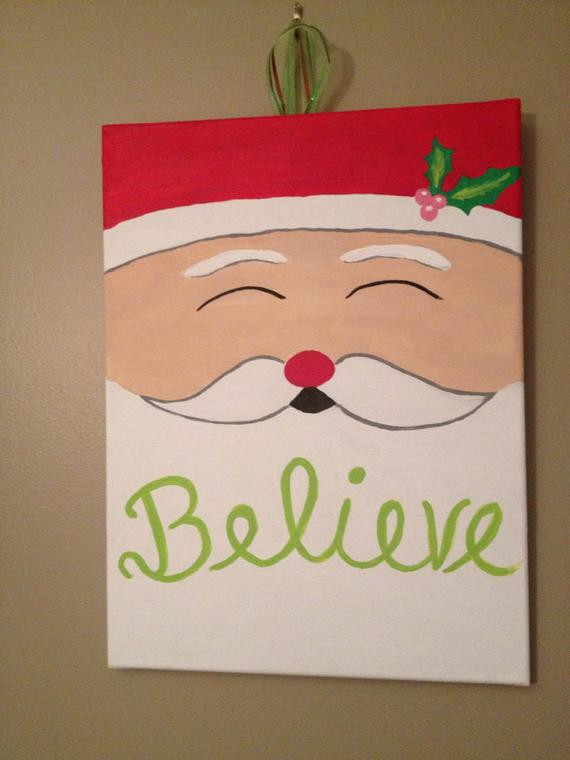 Christmas Painting Ideas For Kids  Believe Santa Christmas Canvas