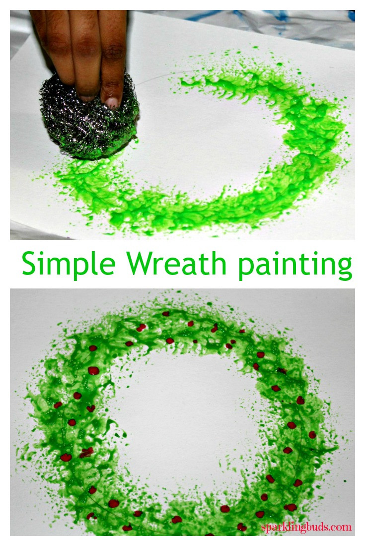 Christmas Painting Ideas For Kids  Christmas wreath painting with kitchen stainless steel