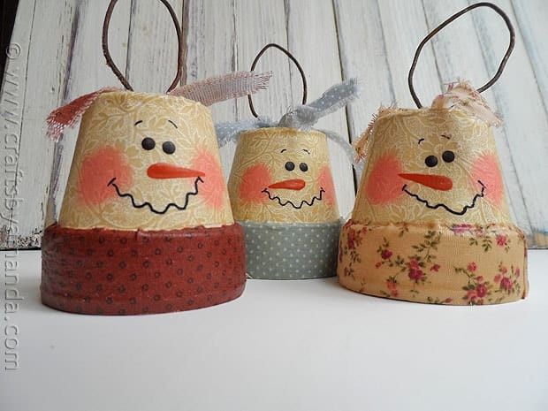 Clay Crafts For Adults  Vintage Clay Pot Snowman Ornaments Crafts by Amanda