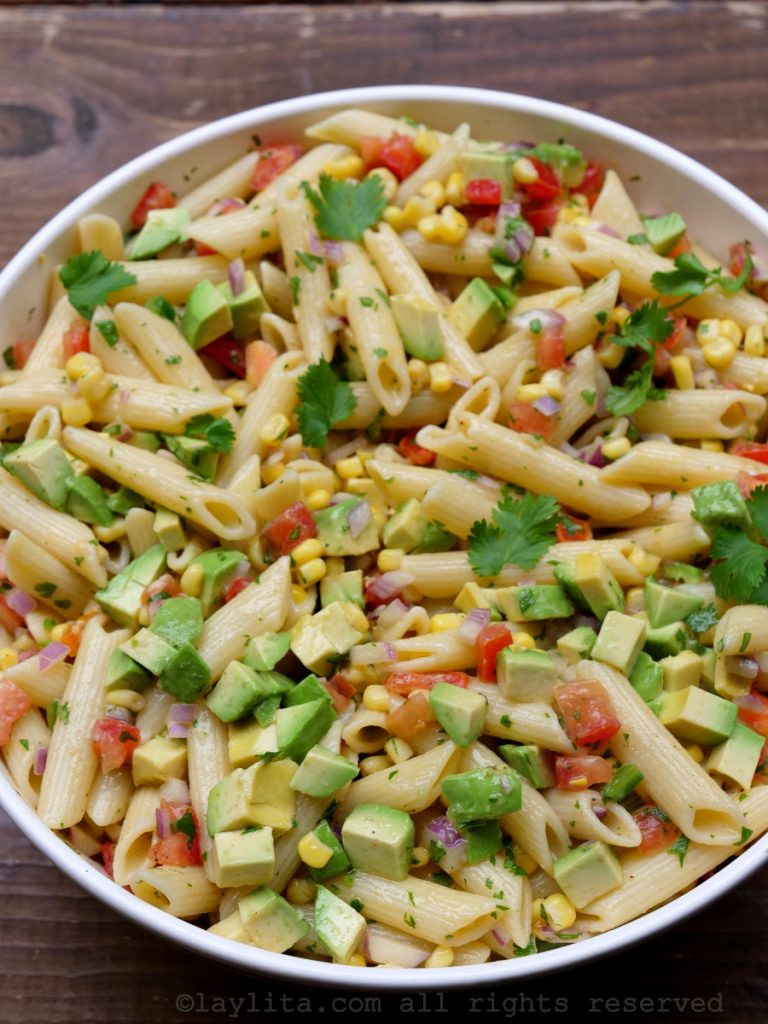 Corn Pasta Salad  Corn pasta salad with tomato and avocado – Laylita's Recipes