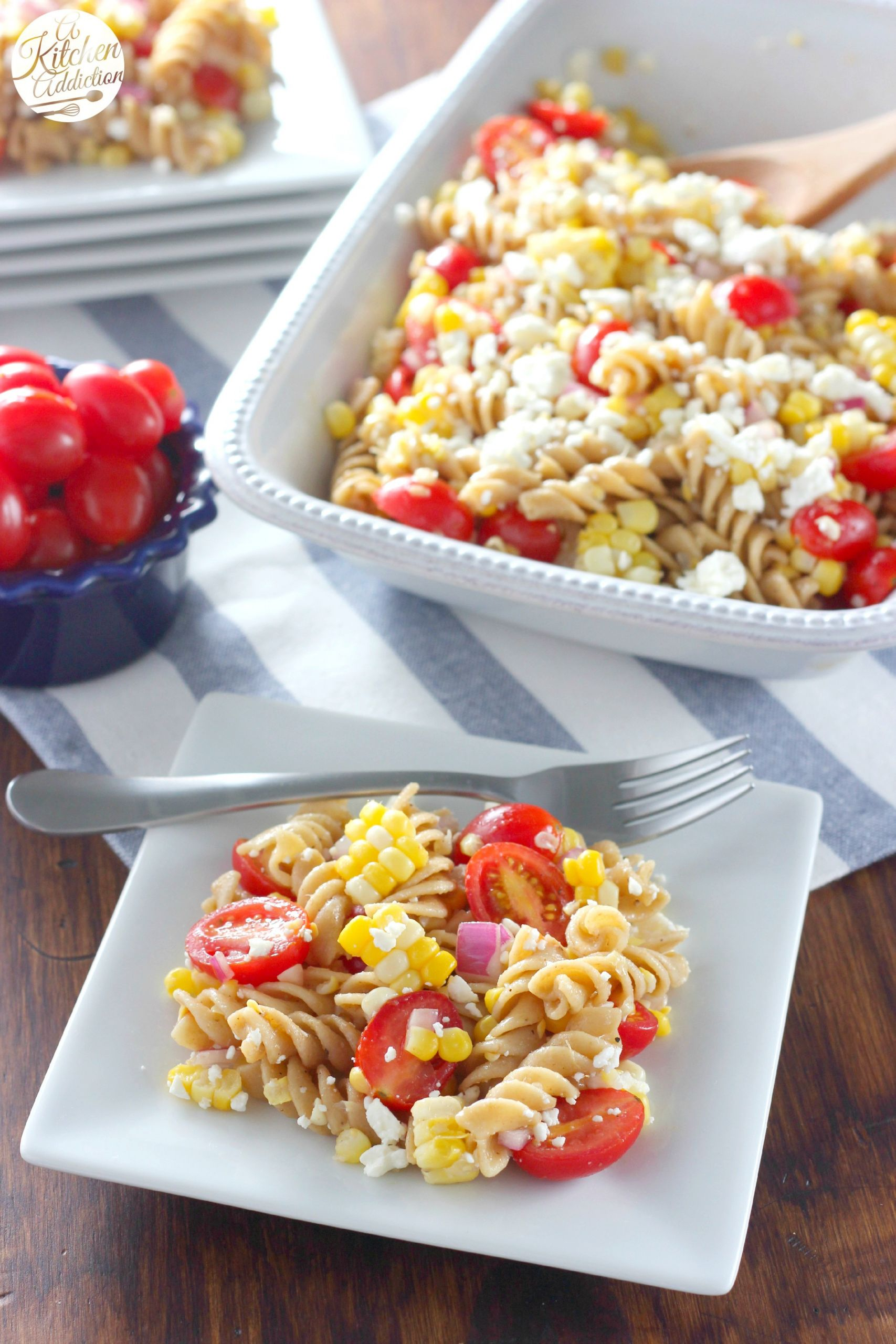 Corn Pasta Salad  Fresh Corn and Tomato Pasta Salad A Kitchen Addiction