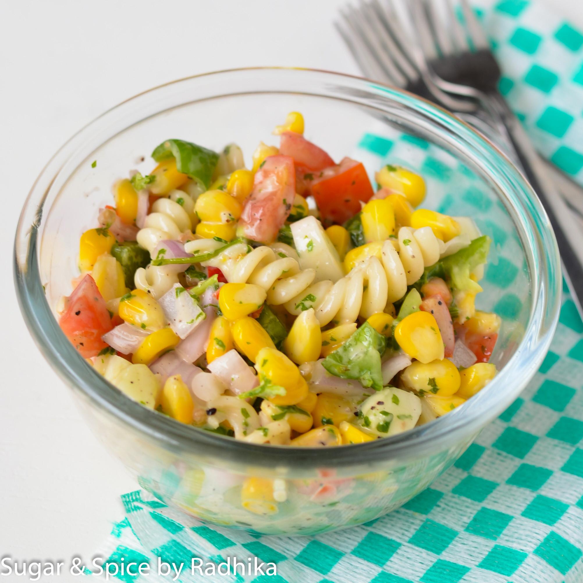 Corn Pasta Salad  Sweet Corn and Pasta Salad Sugar & Spice by Radhika