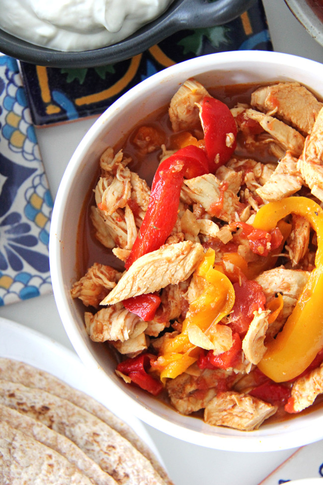 Crockpot Chicken Fajitas  Crockpot Chicken Fajitas A Pretty Life In The Suburbs